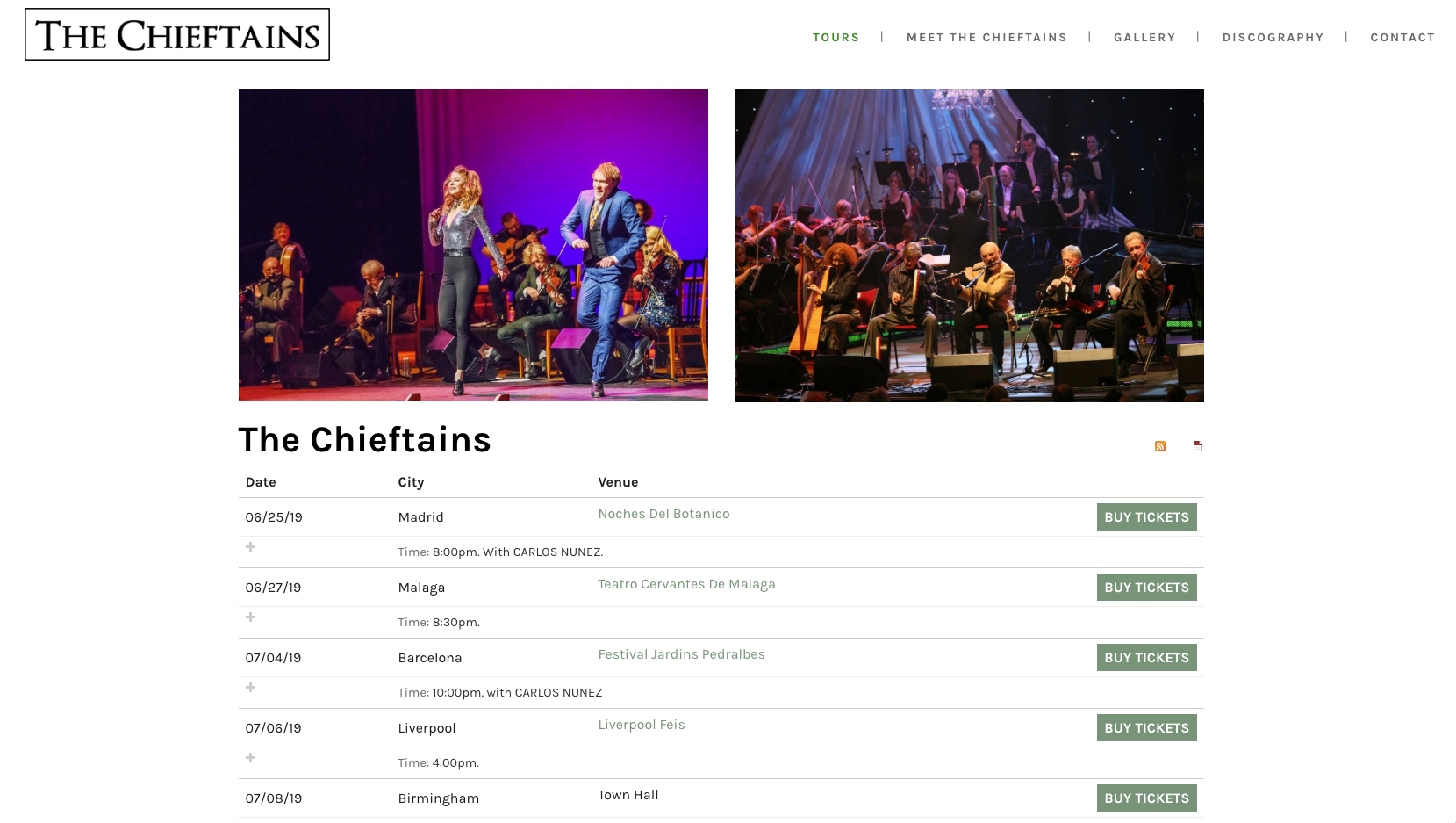 The Chieftains website